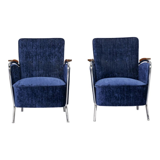 Pair of Bauhaus Steel and Wood Club Chairs For Sale