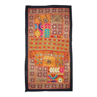 Antique Boho Chic Handmade Wall Hanging Tapestry For Sale