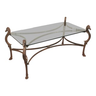 Decorative Horse Head Legs Cast Iron and Glass Top Cocktail / Coffee Table For Sale