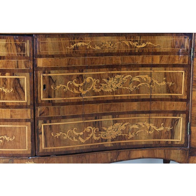 Brown 18th Century Dutch Serpentine Front Marquetry Commode For Sale - Image 8 of 13