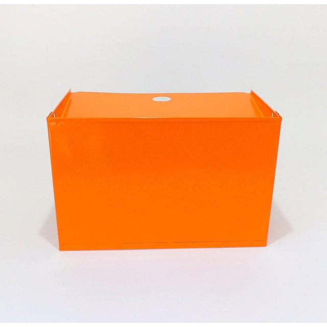 Orange Metal Desk Organizer For Sale - Image 4 of 7