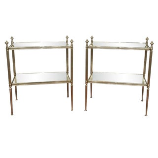 Pair of 1950's Maison Jansen Silvered End Tables With Mirrored Shelves For Sale