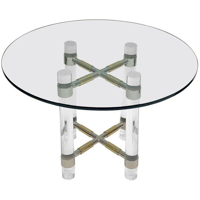 Chrome and Polish Brass Continental Height Table by Charles Hollis Jones For Sale - Image 10 of 10