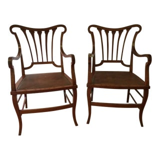 Pair of Fruitwood Armchairs For Sale