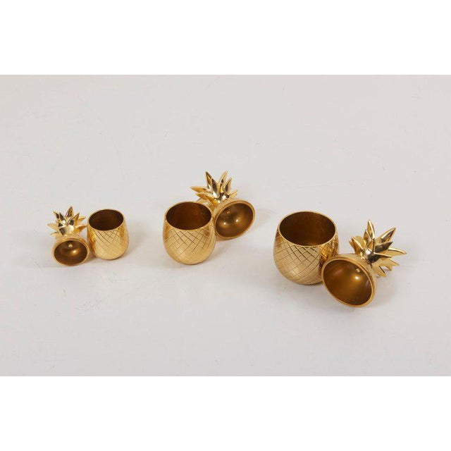 Set of 3 Brass Pineapple Ice Buckets or Candy Boxes For Sale - Image 4 of 9