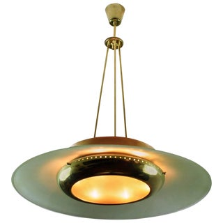 1950s Prism Edge Glass and Brass Ceiling Lamp For Sale