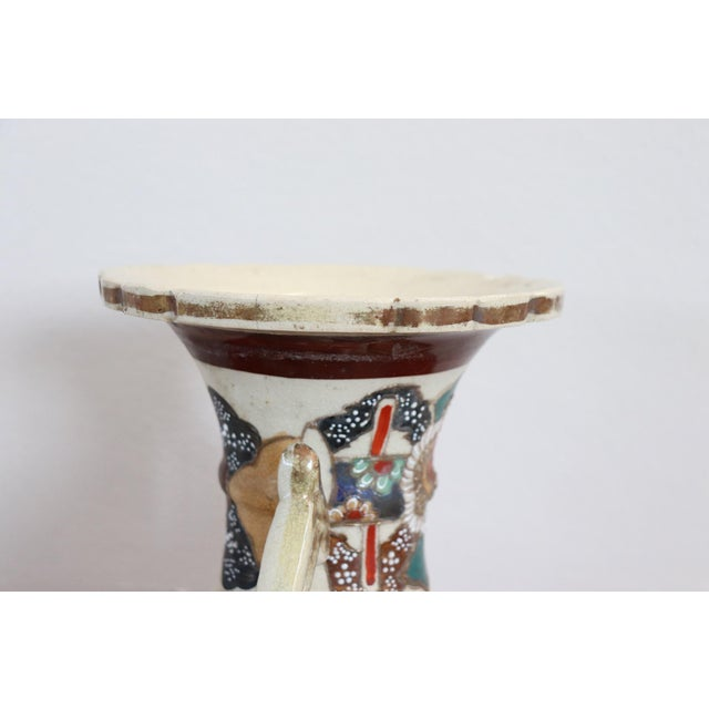 Refined polychrome ceramic vase Japanese, 1960s. Beautiful Satsuma decoration with characters. Ideal for decorating an...
