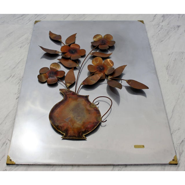 For your consideration is a delightful, aluminum/copper/metal, hanging wall sculpture, signed and dated by Alex Kovacs,...