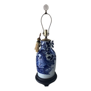 Late 19th Century Chinese Blue and White Peacock Lamp With Tassel For Sale