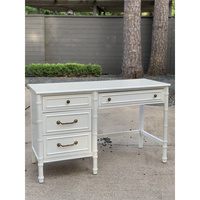 1970s Hollywood Regency Thomasville Allegro Faux Bamboo Writing Desk For Sale - Image 12 of 12