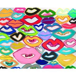 """Lips"" Contemporary Pop Art Style Mixed-Media Painting by Tony Marine For Sale"