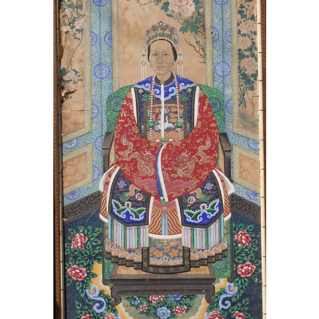 Blue Late Ching Chinese Court Lady Painting For Sale - Image 8 of 8