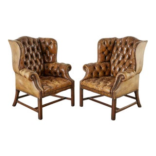 Pair of English Georgian Cigar Leather Wingback Library Chairs For Sale