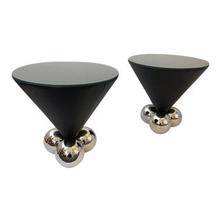 Leather and Polished Stainless Steel Bocci Side Tables by Brueton - A Pair