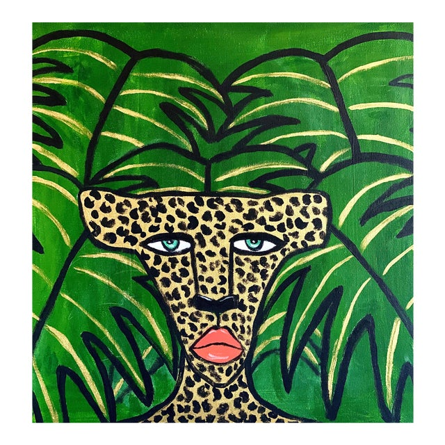 Cheetah in the Leaves Painting For Sale