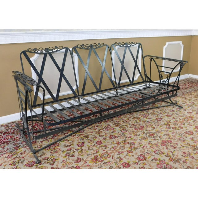 Cottage Vintage Lee Woodard & Sons Wrought Iron Glider Sofa For Sale - Image 3 of 11