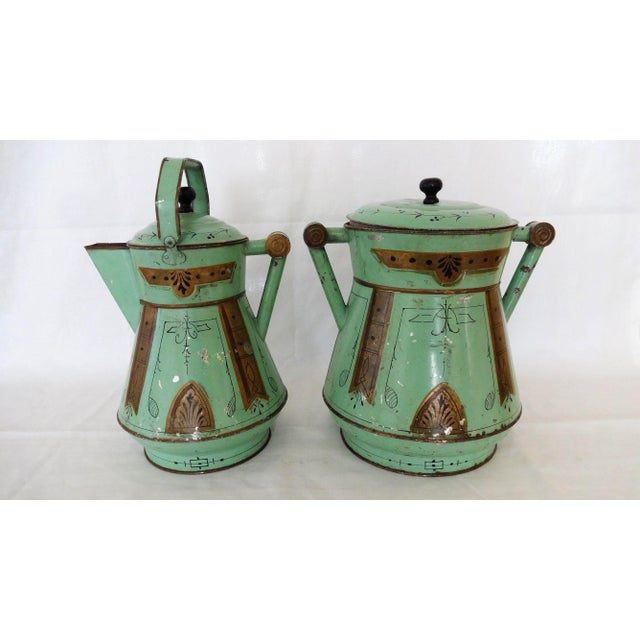 Celadon Late 19th Century Antique Toleware Container For Sale - Image 8 of 9