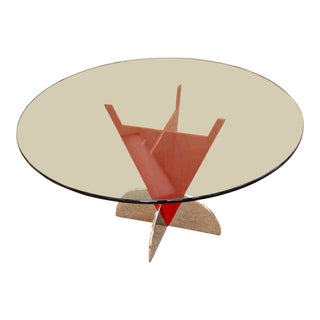 Contemporary Modern Memphis Ettore Sotsass Style Red Iron Glass Dining Table For Sale