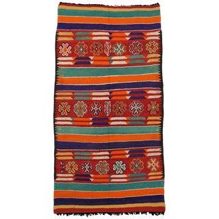 Vintage Berber Moroccan Kilim Tribal Rug - 6′ × 11′5″ For Sale