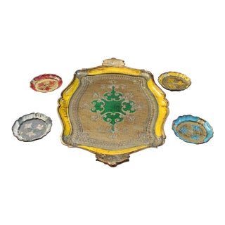 1950s Vintage Italian Florentine Serving Tray With Coasters For Sale