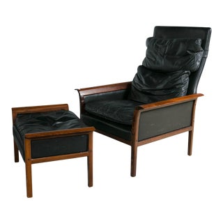 Danish Mid-Century Modern Lounge Chair And Ottoman - A Pair