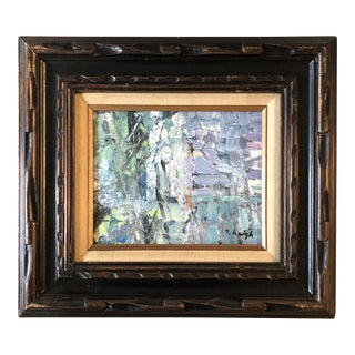 "Original Stephen Heigh Abstract Painting ""Birch Trees"" Carved Wood Vintage Frame For Sale"