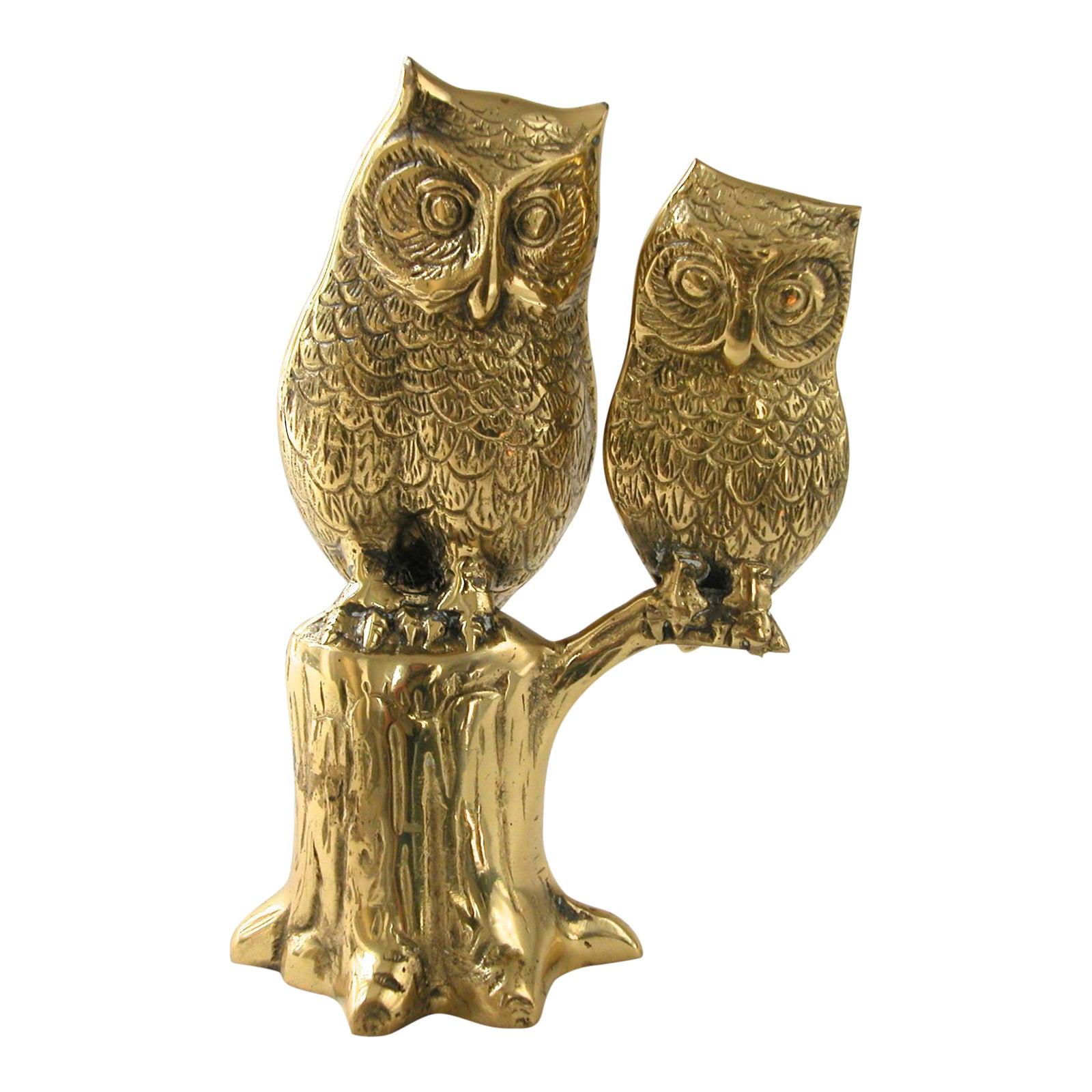 Large Brass Owl Statue   Chairish