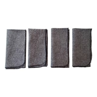 Charcoal Grey Linen Napkins With Black Overlock Edges - Set of 4 For Sale