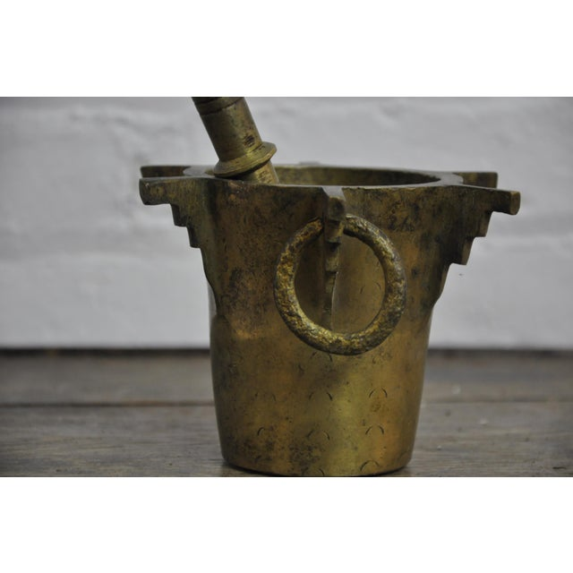 Antique Ottoman Turkish Heavy Bronze Mortar and Pestle For Sale In New York - Image 6 of 8