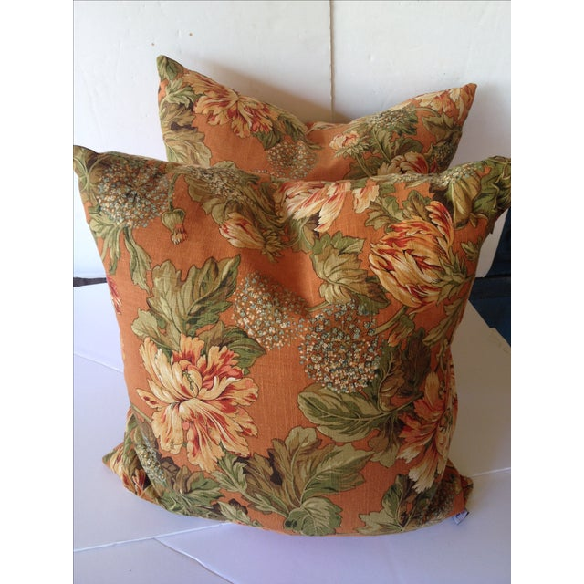 Newport Orange Floral Pillows - S/2 - Image 3 of 8