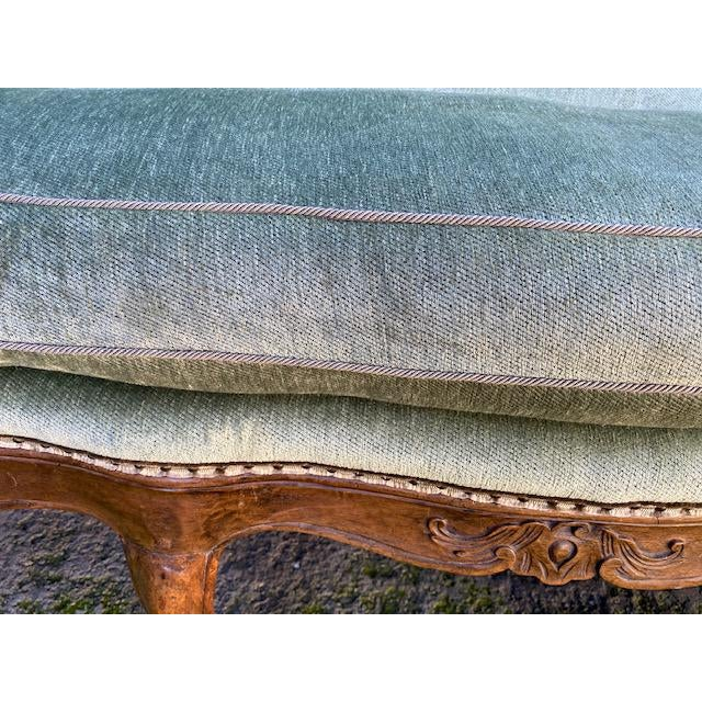 Textile Late 18th C. To Early 19th C. French Walnut Settee With Green Chenile For Sale - Image 7 of 12