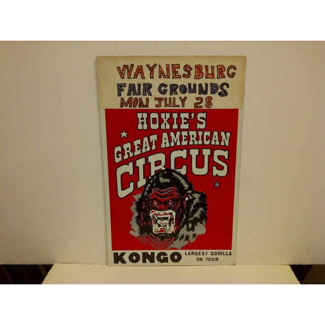 """A vintage circus poster, """"Hoxies Great American Circus"""", Kongo, the largest gorilla on tour circa 1960. The poster is in..."""