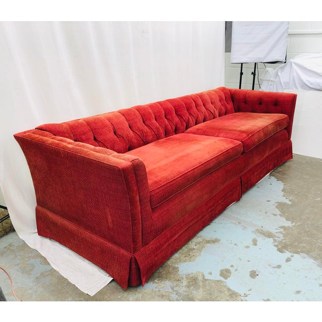 Vintage Chesterfield Style Tufted Button Back Sofa For Sale - Image 11 of 13