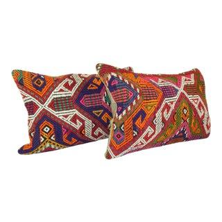 "Vintage Geometrical Turkish Kilim Pillow - a Pair 16""x24"" For Sale"