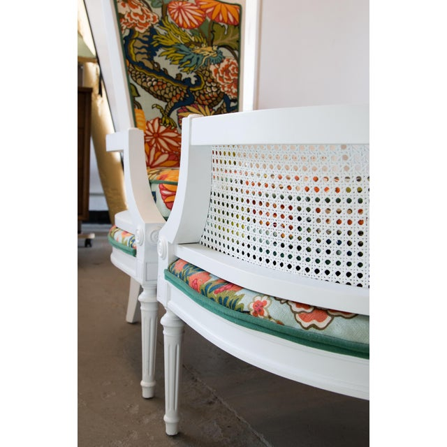 White Vintage Caned Chairs in Schumacher Chiang Mai Dragon For Sale - Image 8 of 9