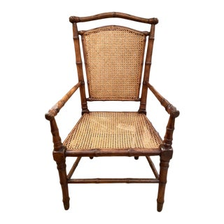 Vintage French Bamboo Design Chair With Cane Back and Seat For Sale