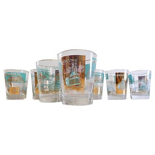 Steamboat Barware - Set of 7 Glasses For Sale