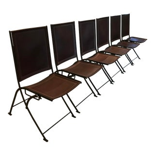 Leather & Wrought Iron Campaign Folding Chairs - Set of 6