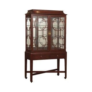 Henkel Harris Mahogany Pagoda Top Curio Display Cabinet For Sale