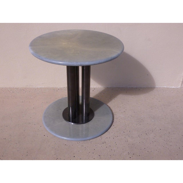 Black Post Modern 80's Roche Bobois Goatskin / Parchment Three Column Occasional Table For Sale - Image 8 of 9