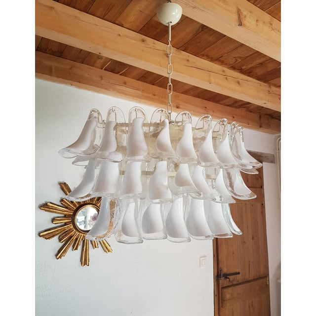 Mazzega Murano Mazzega Mid-Century Modern White Murano Glass Oval Chandelier -2 Available For Sale - Image 4 of 13