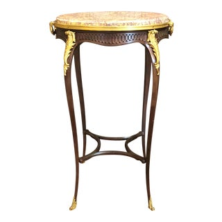Antique French Mahogany Ormolu Mounted Occasional Table with Marble Top.