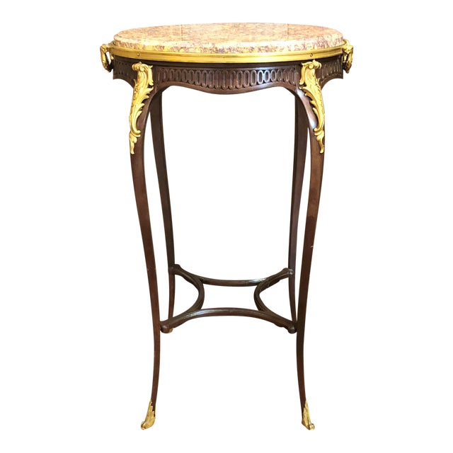Antique French Mahogany Ormolu Mounted Occasional Table with Marble Top. For Sale