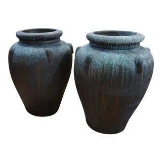 Terra Cotta Urns - A Pair For Sale