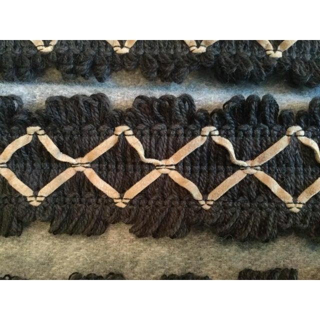 Kravet Kravet Black Flat Textile Trim With Beige Ultrasuede Diamonds For Sale - Image 4 of 5