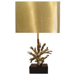 Signed Charles Bronze Coral Lamp For Sale