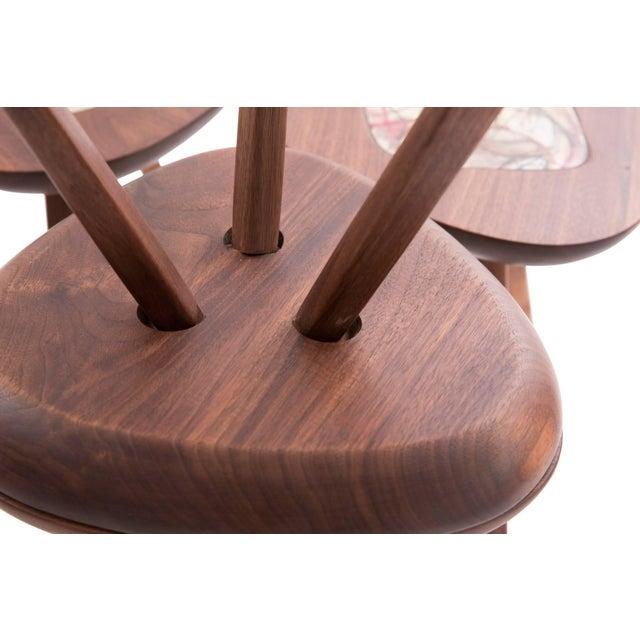 Four Lee Porzio & Allen Ditson Walnut Ceramic Side Tables For Sale - Image 9 of 11
