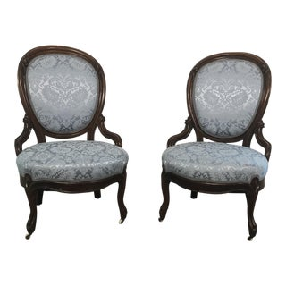 Early 20th Century Newly Upholstered Victorian Side Chairs - a Pair For Sale