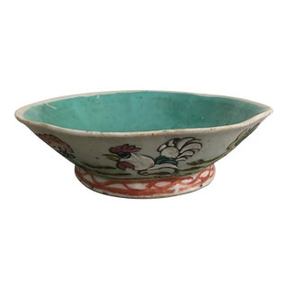 Antique Chinese Famille Rose Tongzhi Footed Rooster Dish For Sale