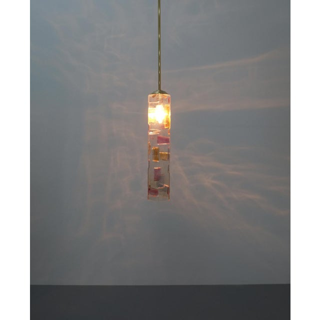 Glass Pair of Colored Glass Pendant Lamps Style Poliarte, Italy, Circa 1955 For Sale - Image 7 of 8